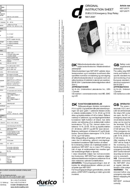 Duelco NST-2007 manual