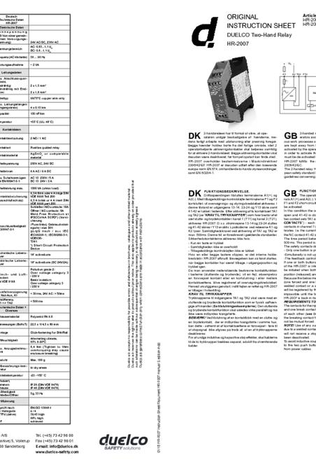 Duelco HR-2007 manual
