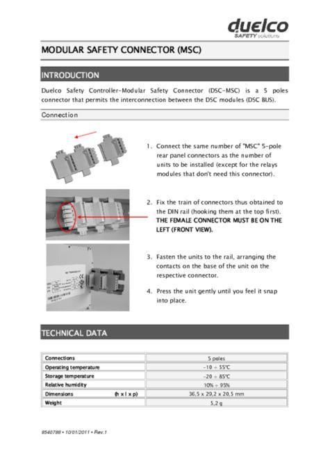 Duelco DSC-MSC manual