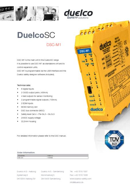 Duelco DSC-M1 data sheet
