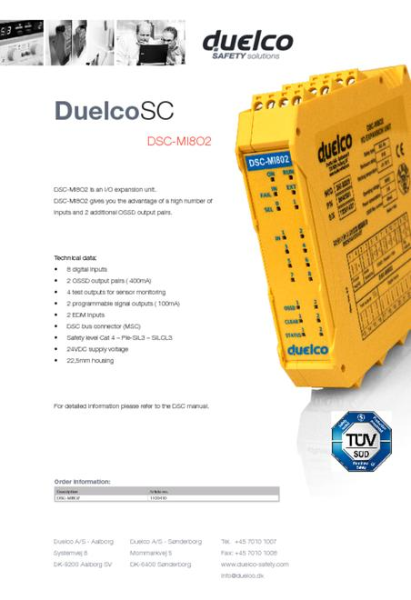 Duelco DSC-MI802 data sheet