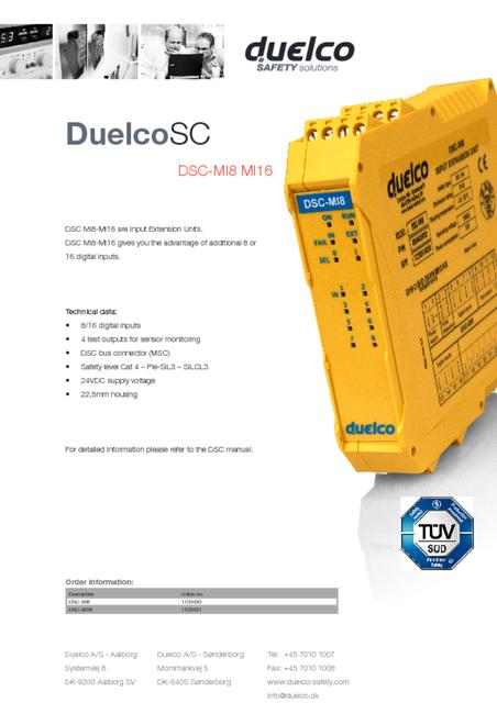 Duelco DSC-MI8-MI16 data sheet