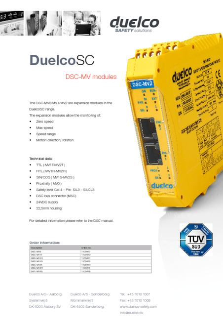 Duelco DSC-MV data sheet